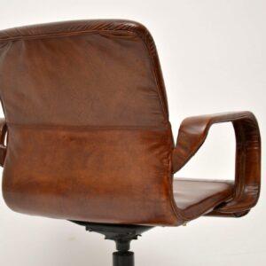 1970's Vintage Leather Swivel Desk Chair
