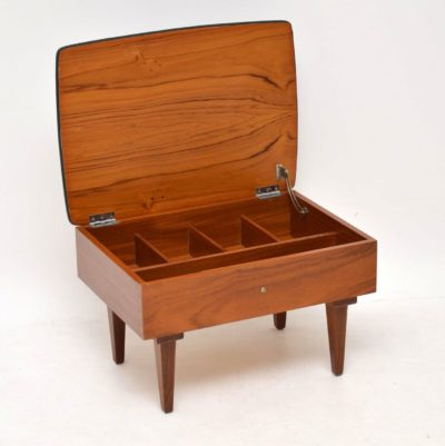danish teak retro vintage foot stool sewing box