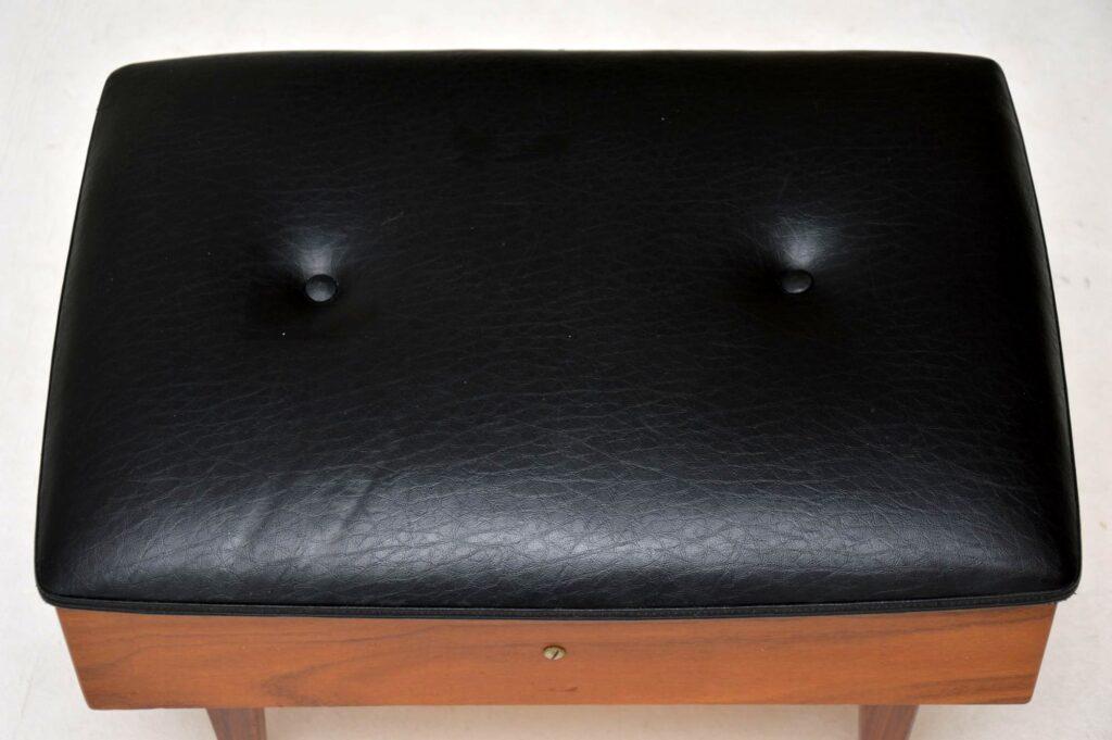 danish teak retro vintage foot stool sewing box