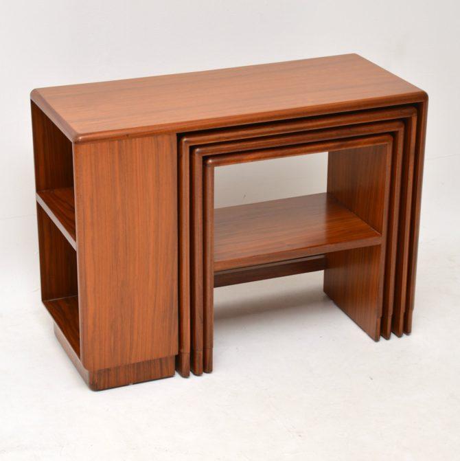 art deco walnut nest of tables nesting coffee table