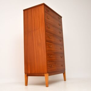 1960's Danish Mahogany Tall Boy Chest of Drawers by Ole Wanscher
