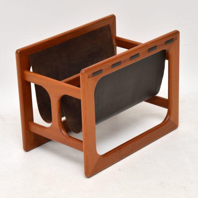 danish teak retro leather magazine rack