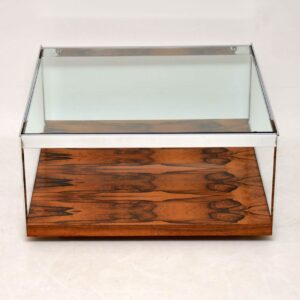 retro vintage rosewood chrome coffee table merrow associates