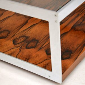 1960's Vintage Rosewood & Chrome Coffee Table by Merrow Associates