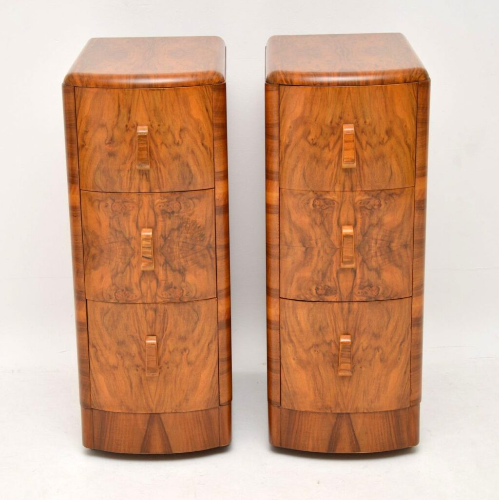 pair of art deco walnut bedside chests cabinets