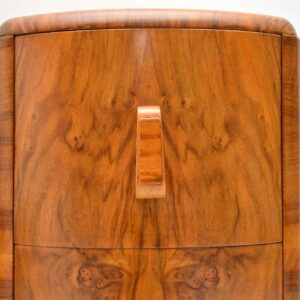 1920's Pair of Art Deco Walnut Bedside Chests