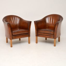pair danish retro vintage leather tub armchairs by mogens hansen