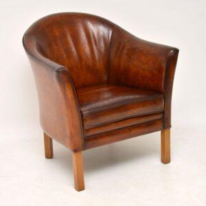 pair danish retro vintage leather tub armchairs by mogens hansen