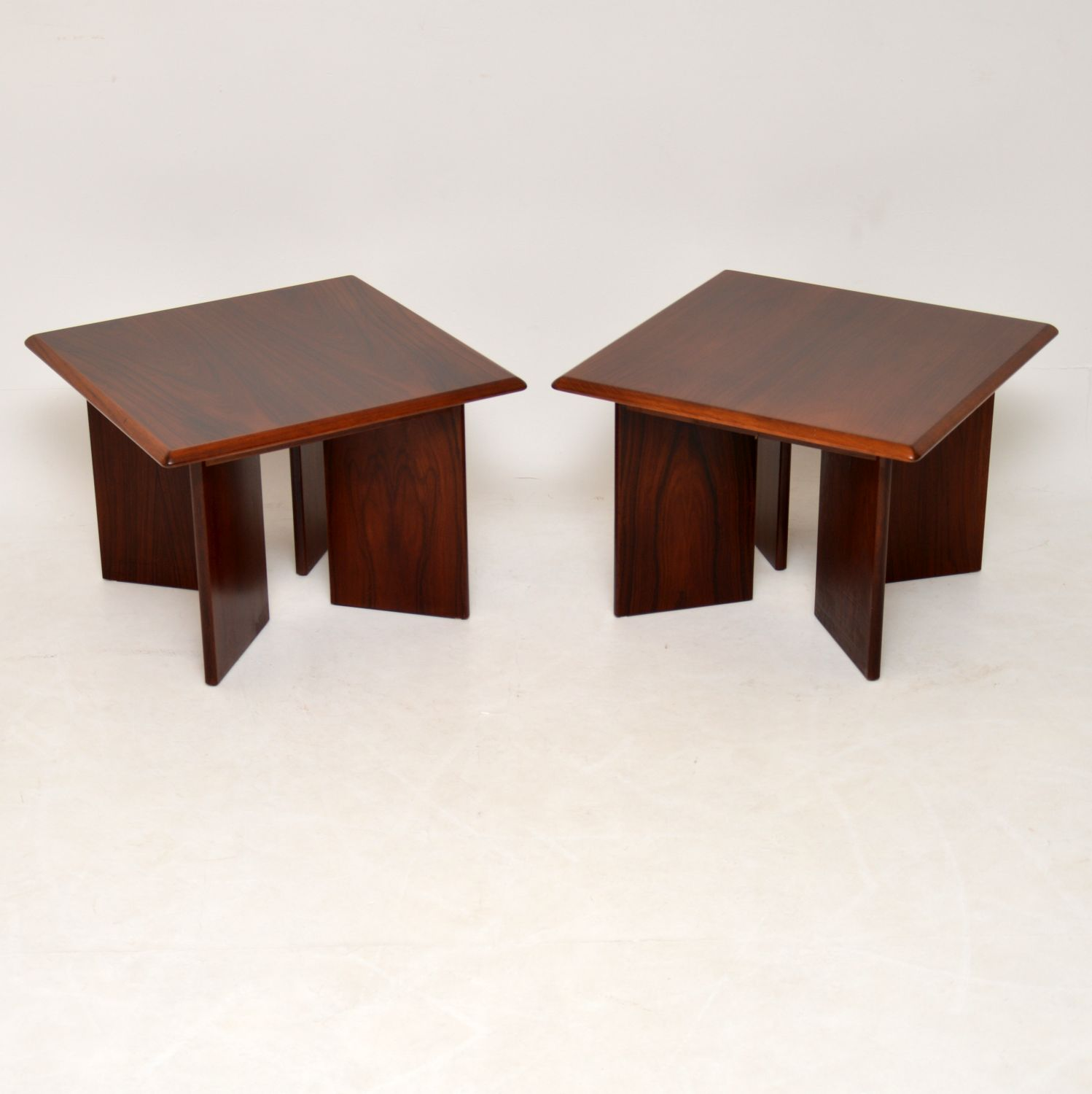 pair of danish retro vintage rosewood side tables