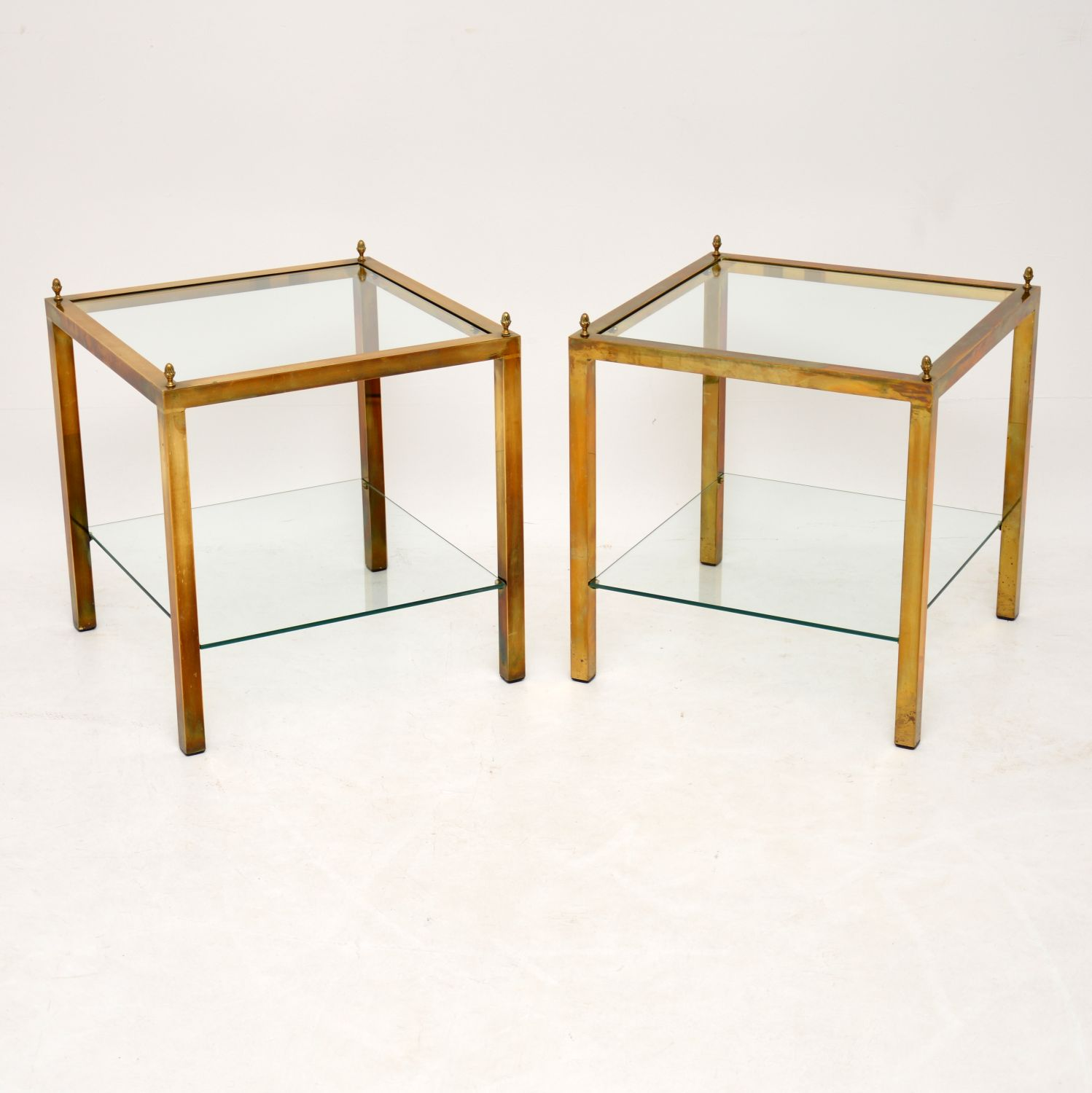 retro vintage brass glass side tables