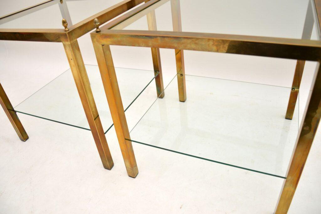 retro vintage brass glass side tables
