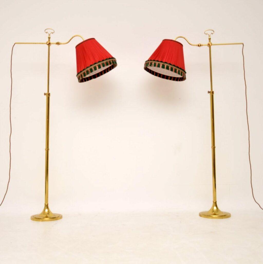 pair of retro vintage brass floor lamps