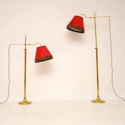 pair of retro vintage brass floor lamps