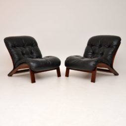 pair of danish retro rosewod leather vintage chairs armchairs rybo rykken