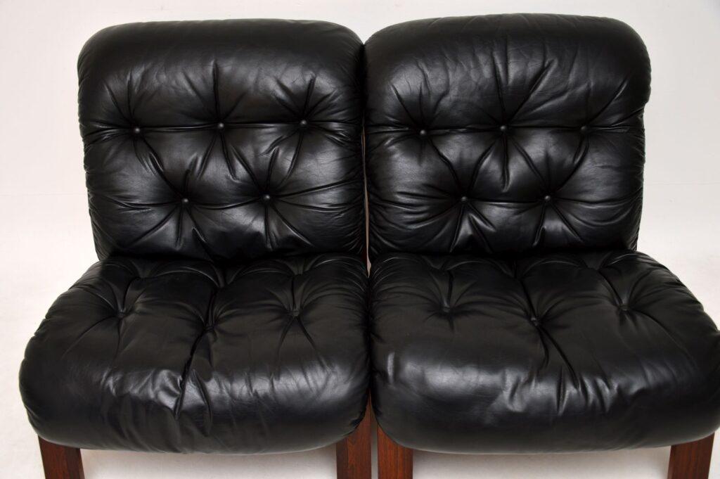 pair of danish retro rosewod leather vintage chairs armchairs rybo rykken