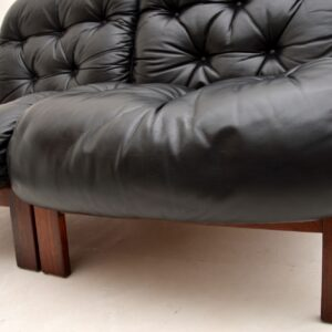 1960's Pair of Scandinavian Rosewood & Leather Chairs by Rybo Rykken