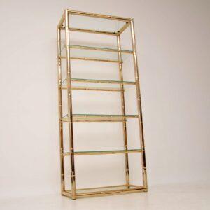 retro vintage italian brass glass cabinet bookcase