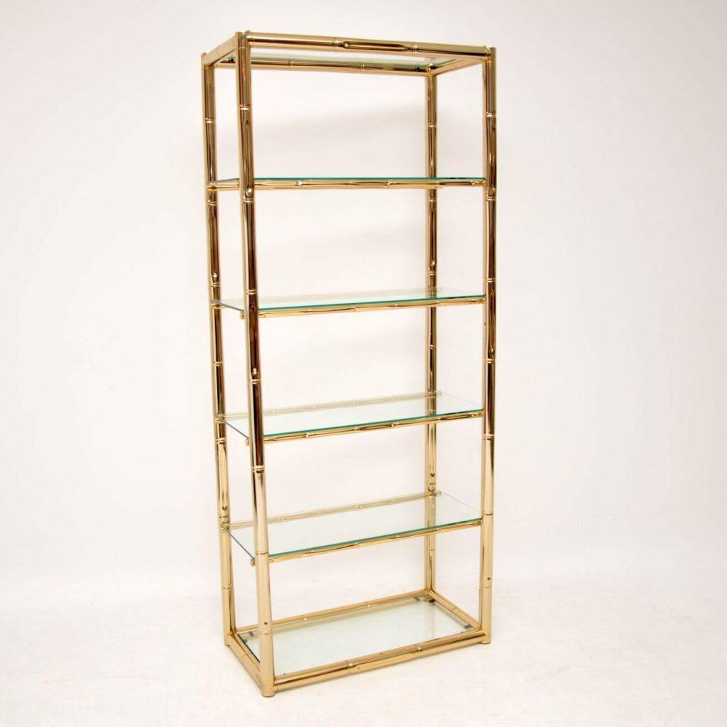 1970's Vintage Italian Brass & Glass Cabinet / Bookcase