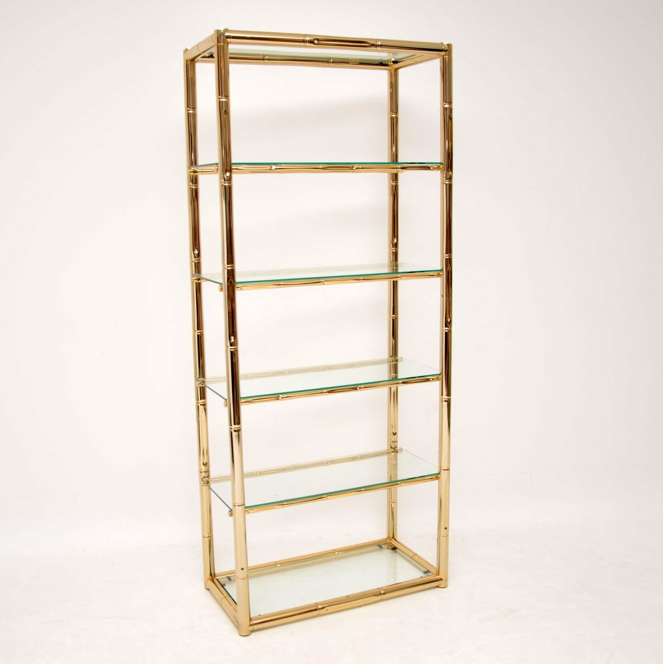 1970's Vintage Italian Brass & Glass Cabinet / Bookcase