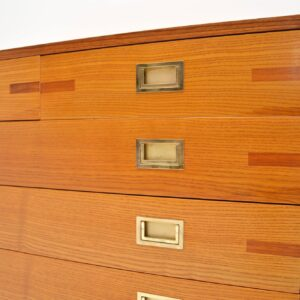retro walnut elm brass chest of drawers