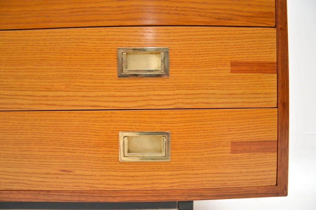 retro walnut elm brass chest of drawers