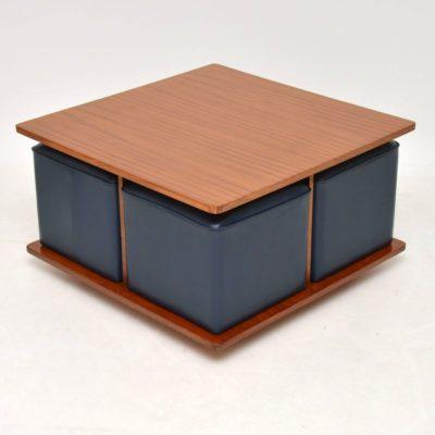 teak retro vintage coffee table nesting stools
