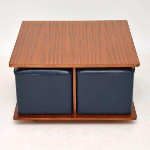 1960's Vintage Teak Coffee Table with Nesting Stools