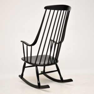 1960's Vintage Ebonised Rocking Chair by Ilmari Tapiovaara