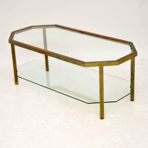 retro vintage brass glass coffee table
