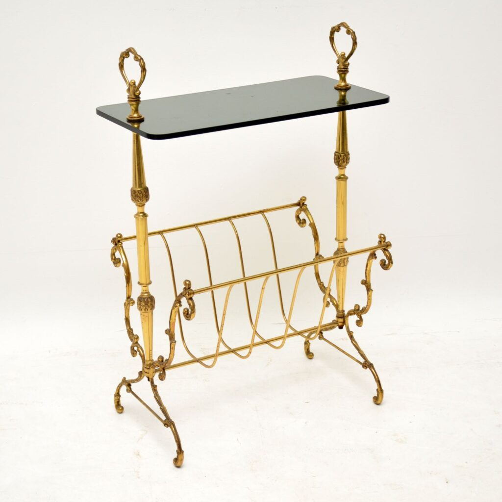 retro vintage brass glass side table magazine rack