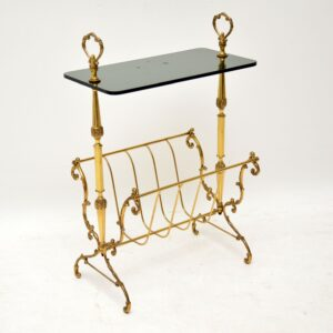 1960's Vintage Brass & Glass Side Table / Magazine Rack