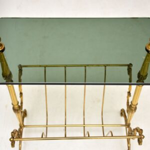 retro vintage brass glass side table magazine rack