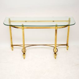 vintage retro brass glass french console hall side table