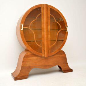 1930's Original Art Deco Period Walnut Bookcase / Display Cabinet