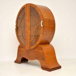 vintage art deco walnut bookcase cabinet