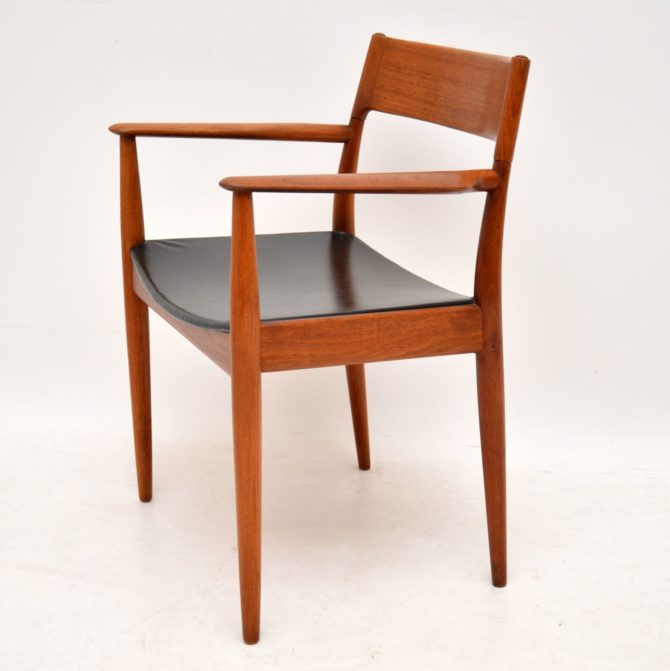 danish teak retro vintage armchair carver chair desk chair by arne hovmand olsen mogens kold