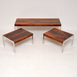 retro vintage merrow associates rosewood chrome nesting coffee table side tables