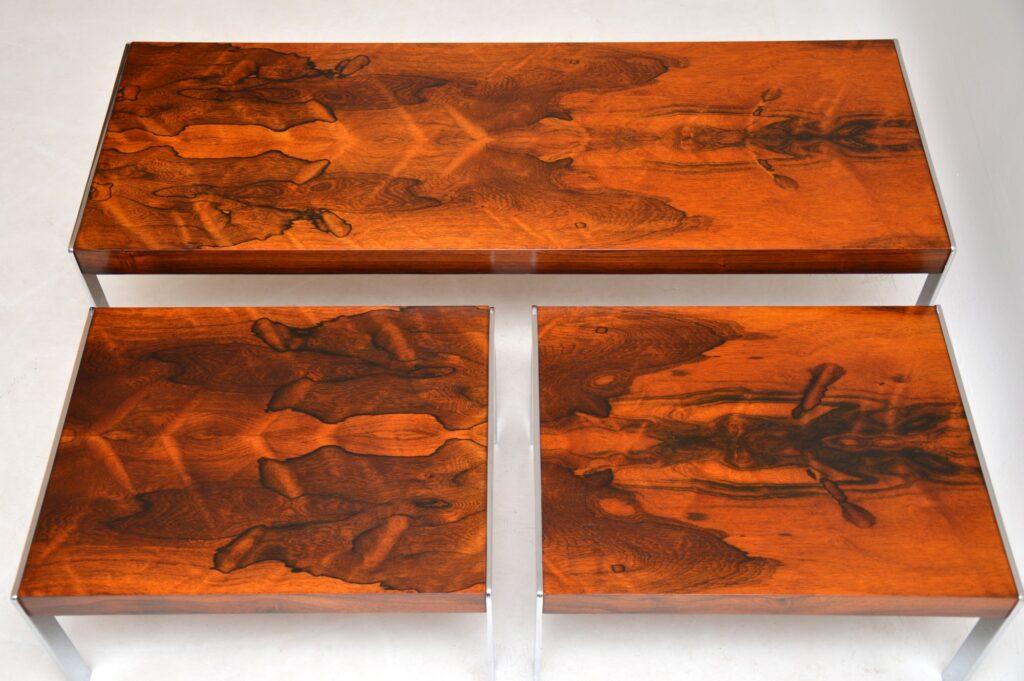 retro vintage merrow associates rosewood chrome nesting coffee table side tables