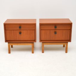 pair of danish retro vintage teak bedside cabinets