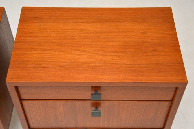 pair of danish retro vintage teak bedside cabinets