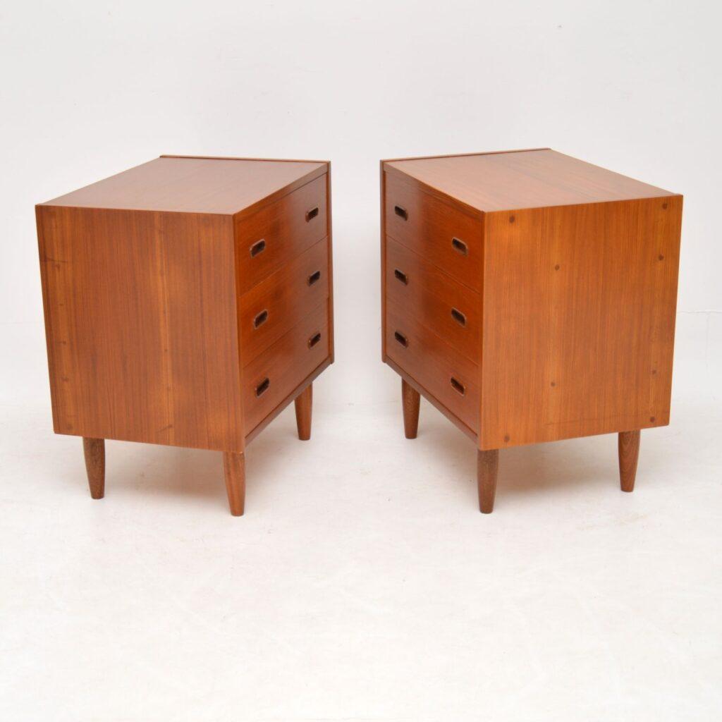 danish teak retro vintage pair of bedside chests cabinets