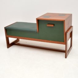 teak retro vintage telephone table entry bench