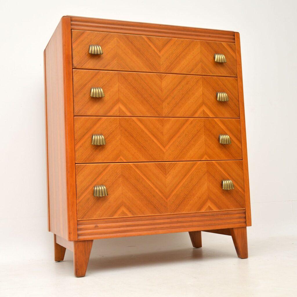 retro vintage walnut brass chest of drawers