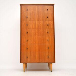 retro vintage walnut tallboy chest of drawers