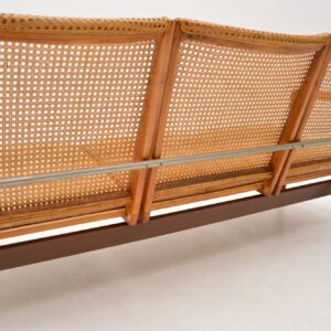 1950's Vintage Dutch Afromosia & Cane Sofa by P.J Muntendam