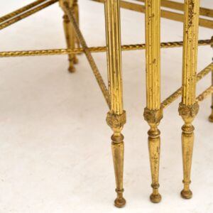 1950's Vintage Brass & Mahogany Nest of Tables