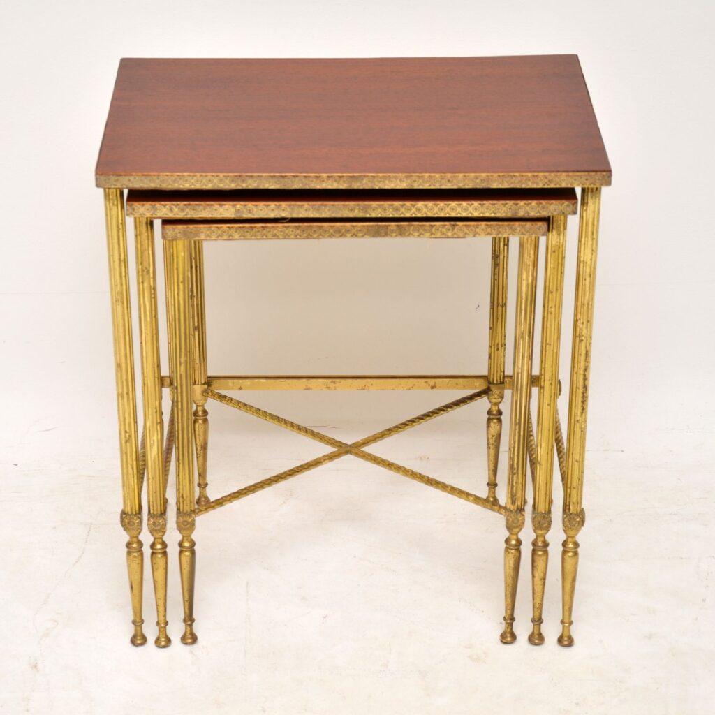 antique retro vintage brass mahogany nest of tables