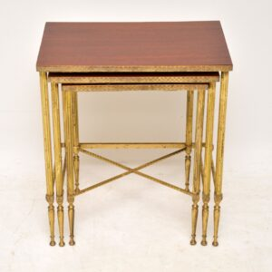 antique retro vintage brass mahogany nest of tables