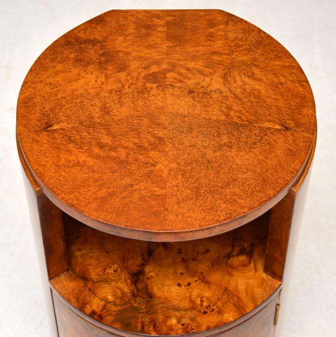 antique art deco burr yew bedside pot cupboard