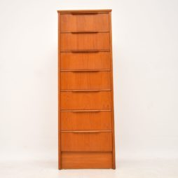 danish teak retro vintage tall boy chest of drawers